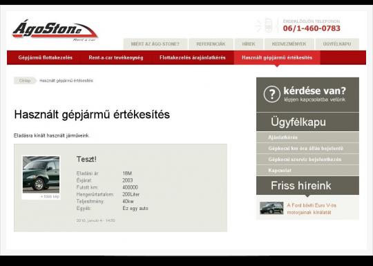 Gépjármű flottakezelés - használt gépjármű értékesítés